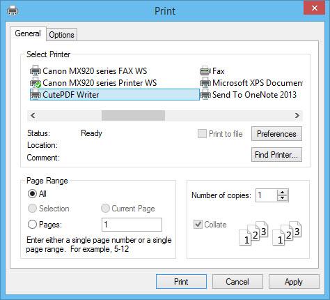 CutePDF-select as printer